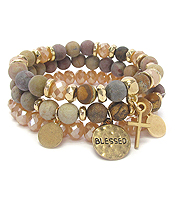 RELIGIOUS INSPIRATION MULTI STONE MIX 3 BRACELET SET - BLESSED