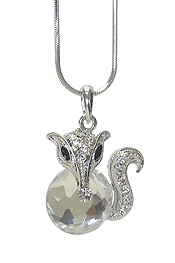WHITEGOLD PLATING CRYSTAL SQUIRREL PENDANT NECKLACE