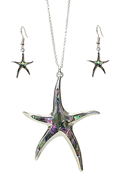 ABALONE STARFISH PENDANT NECKLACE SET