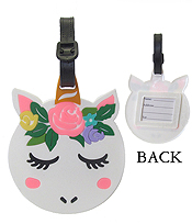 LARGE RUBBER LUGGAGE TAG - UNICORN
