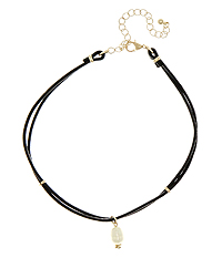 FRESHWATER PEARL DANGLE AND LEATHER CORD CHOKER NECKLACE