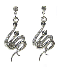 WHITEGOLD PLATING CRYSTAL DOUBLE SNAKE EARRING