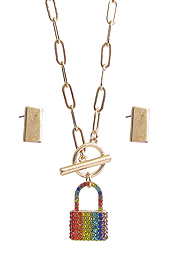 CRYSTAL PADLOCK PENDANT TOGGLE NECKLACE SET