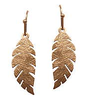 SCRATCH METAL BRASS FEATHER EARRING