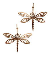 SCRATCH METAL BRASS DRAGONFLY EARRING