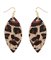 ANIMAL PRINT CORK FEATHER EARRING
