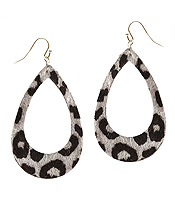 ANIMAL PRINT FABRIC TEARDROP EARRING