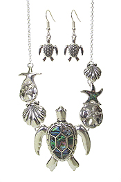 SEALIFE THEME MULTI PENDANT NECKLACE SET - TURTLE