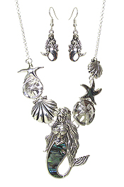 SEALIFE THEME MULTI PENDANT NECKLACE SET - MERMAID