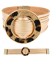 ANIMAL PRINT RING AND MULTI LAYER LEATHERETTE MAGNETIC BRACELET