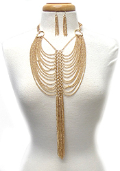 MULTI LAYER FINE CHAIN AND TASEEL DROP NECKLACE SET
