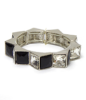 SQUARE CRYSTALS LINK STRETCH BRACELET