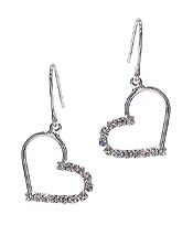 WHITEGOLD PLATING CUBIC ZIRCONIA HEART EARRING