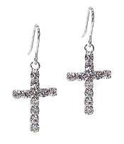 WHITEGOLD PLATING CUBIC ZIRCONIA CROSS EARRING
