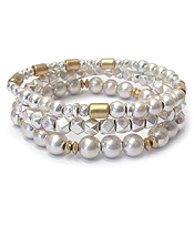 MULTI BEAD MIX TRIPLE STRETCH BRACELET