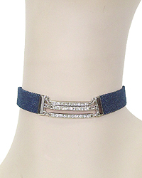 TRIPLE CRYSTAL BAR AND DENIM CHOKER NECKLACE