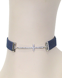 CRYSTAL CROSS AND DENIM CHOKER NECKLACE