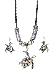 DESIGNER TEXTURED SEALIFE THEME NECKLACE SET - TURTLE