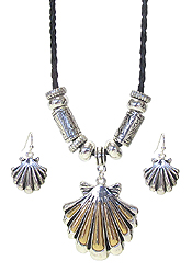 DESIGNER TEXTURED SEALIFE THEME NECKLACE SET - SHELL