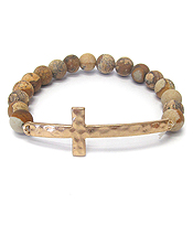 SEMI PRECIOUS STONE CROSS STRETCH BRACELET - PICTURE JASPER