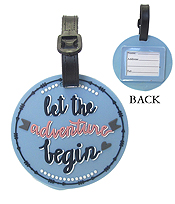 LARGE RUBBER LUGGAGE TAG - LET THE ADVENTURE BEGIN