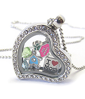 ORIGAMI STYLE FLOATING CHARM HEART LOCKET PENDANT NECKLACE- MOTHERS THEME -OPENS AND CHARMS INCLUDED