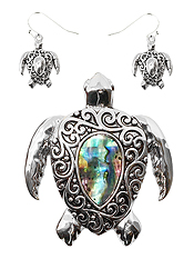 SEALIFE THEME ABALONE PENDANT AND EARRING SET - TURTLE