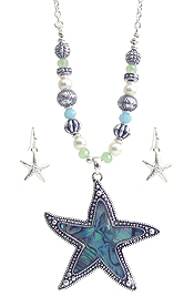 ABALONE STARFISH PENDANT AND MULTI BEAD NECKLACE SET
