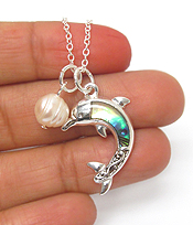 ABALONE DOLPHIN AND FRESHWATER PEARL NECKLACE