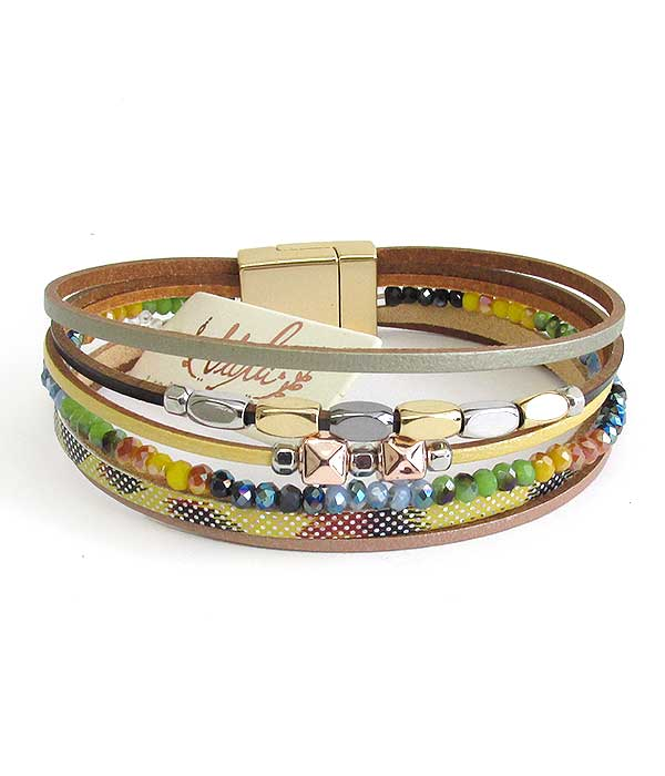 MULTI LAYER LEATHERETTE AND SEEDBEAD MIX MAGNETIC BRACELET