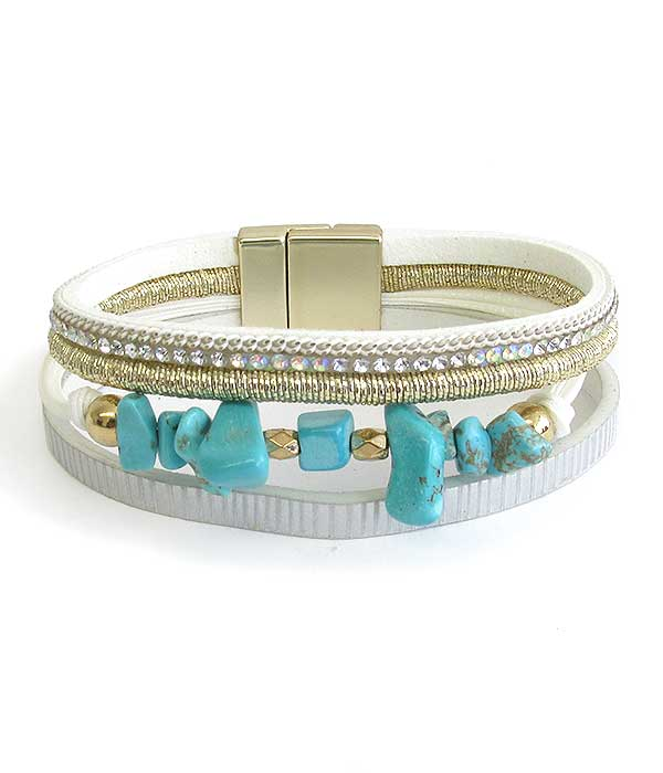 TURQUOISE BEAD AMD MULTI LAYER LEATHERETTE MAGNETIC BRACELET