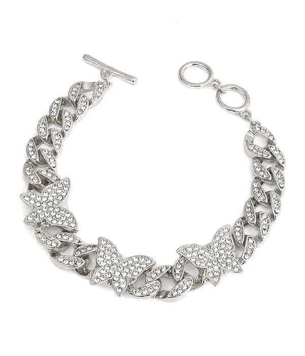CRYSTAL BUTTERFLY AND CHUNKY CHAIN TOGGLE BRACELET