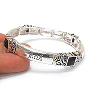 RELIGIOUS INSPIRATION MESSAGE STACKABLE STRETCH BRACELET - FAITH