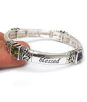 RELIGIOUS INSPIRATION MESSAGE STACKABLE STRETCH BRACELET - BLESSED