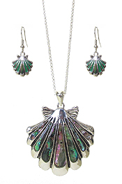 ABALONE SHELL PENDANT NECKLACE SET