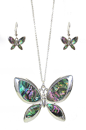 ABALONE BUTTERFLY PENDANT NECKLACE SET