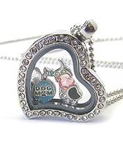 ORIGAMI STYLE FLOATING CHARM HEART LOCKET PENDANT NECKLACE- DOG THEME