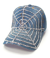 RHINESTONE WORN DENIM BASEBALL CAP - SPIDER WEB