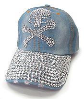 RHINESTONE WORN DENIM BASEBALL CAP - SKULL