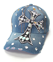 RHINESTONE WORN DENIM BASEBALL CAP - CROSS