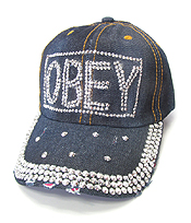 RHINESTONE WORN DENIM BASEBALL CAP - OBEY