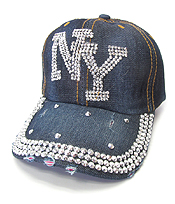 RHINESTONE WORN DENIM BASEBALL CAP - NY