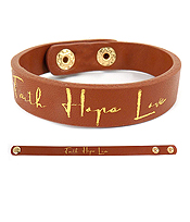 RELIGIOUS THEME LEATHERETTE BRACELET - FAITH HOP LOVE