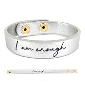 RELIGIOUS THEME LEATHERETTE BRACELET - I AM ENOUGH