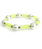 PEARL AND TUBE BEAD STRETCH BRACELET
