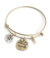 RELIGIOUS INSPIRATION  WIRE BANGLE BRACELET - MAT 19:26