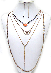 BOHEMIAN STYLE 4 LAYERED CHARM AND HANGING CHAIN NECKLACE SET