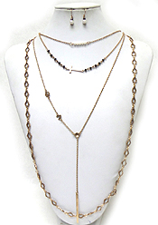 BOHEMIAN STYLE 4 LAYERED CROSS CHARM AND HANGING CHAIN NECKLACE SET