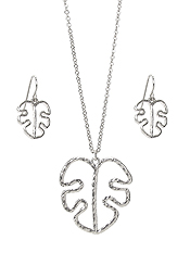 GIANT MONSTERA LEAF PENDANT NECKLACE SET