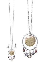SEALIFE THEME MULTI CHARM DROP AND METAL HOOP PENDANT LONG NECKLACE SET